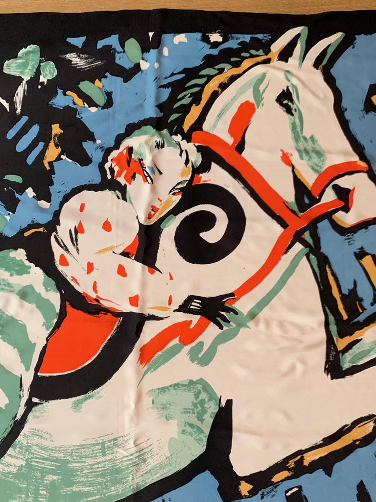 Women's or Men's Huge Michaele Vollbracht Central Park Carousel Silk Scarf or Sarong Beach Cover For Sale