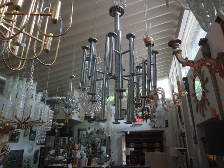 Huge Mid-Century Modern Chrome Chandelier by Gaetano Sciolari In Good Condition For Sale In Houston, TX