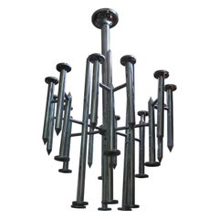 Huge Mid-Century Modern Chrome Chandelier by Gaetano Sciolari