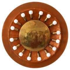 Huge Mid-Century Modern Copper & Brass Flush Mount or Wall Lamp, Germany, 1960s
