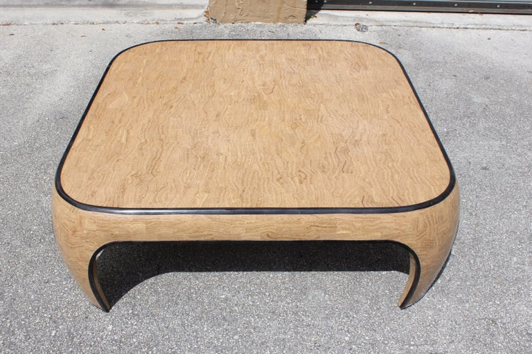 American Huge Mid-Century Modern Maitland Smith Tessellated Stone Coffee Table, 1970s For Sale