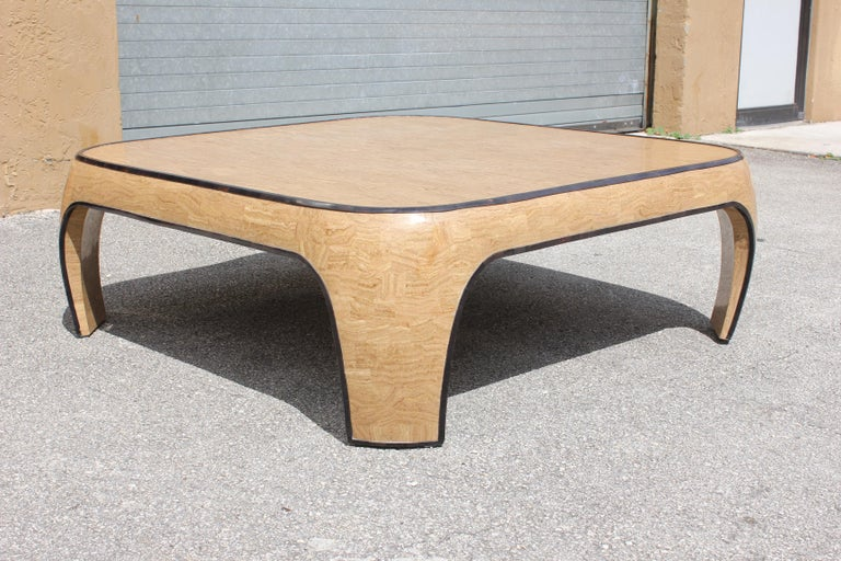 Huge Mid-Century Modern Maitland Smith Tessellated Stone Coffee Table, 1970s In Good Condition For Sale In Hialeah, FL