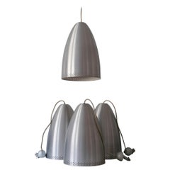 Huge Mid-Century Modern Perforated Solid Aluminium Pendant Lamps, Germany, 1970s