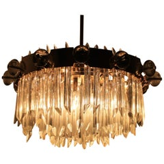 Huge Mid Century Ring Crystal Chandelier, Bakalowits, Lobmeyr, 1950s.