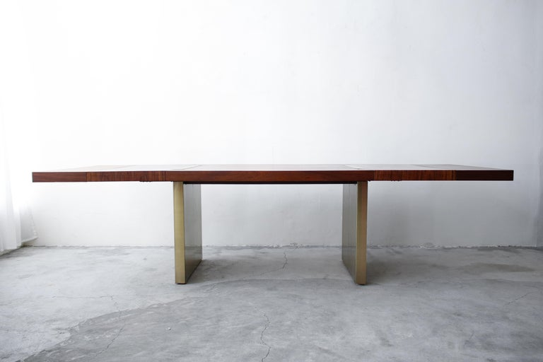Mid-Century Modern Huge Midcentury Walnut and Brushed Brass Extension Dining Table For Sale