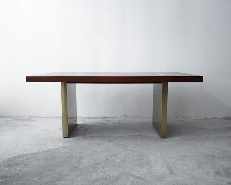 20th Century Huge Midcentury Walnut and Brushed Brass Extension Dining Table For Sale