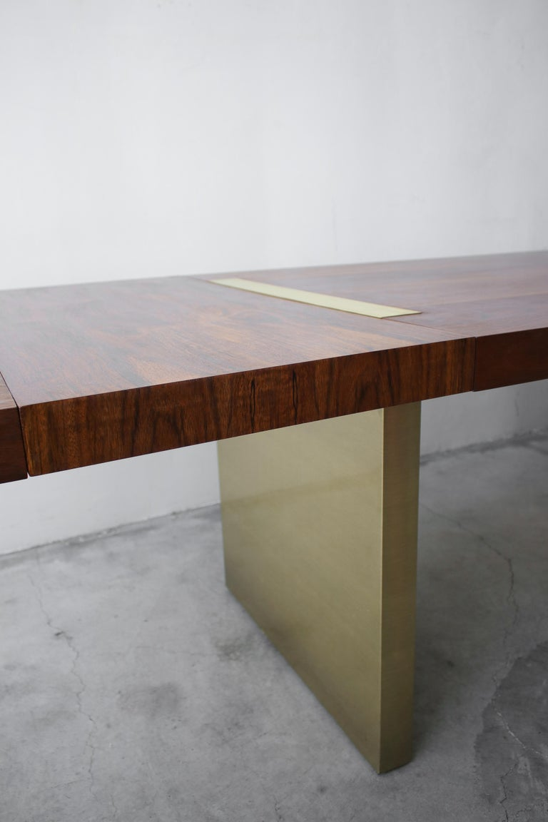 Huge Midcentury Walnut and Brushed Brass Extension Dining Table For Sale 3