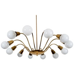 Huge Midcentury Brass Chandelier by Rupert Nikoll