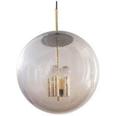 Huge Midcentury Glass Globe Pendant Lamp by Peil & Putzler