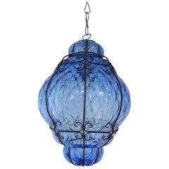 Huge Midcentury Seguso Murano Cobalt Blue Blown Detailed Lantern Chandelier