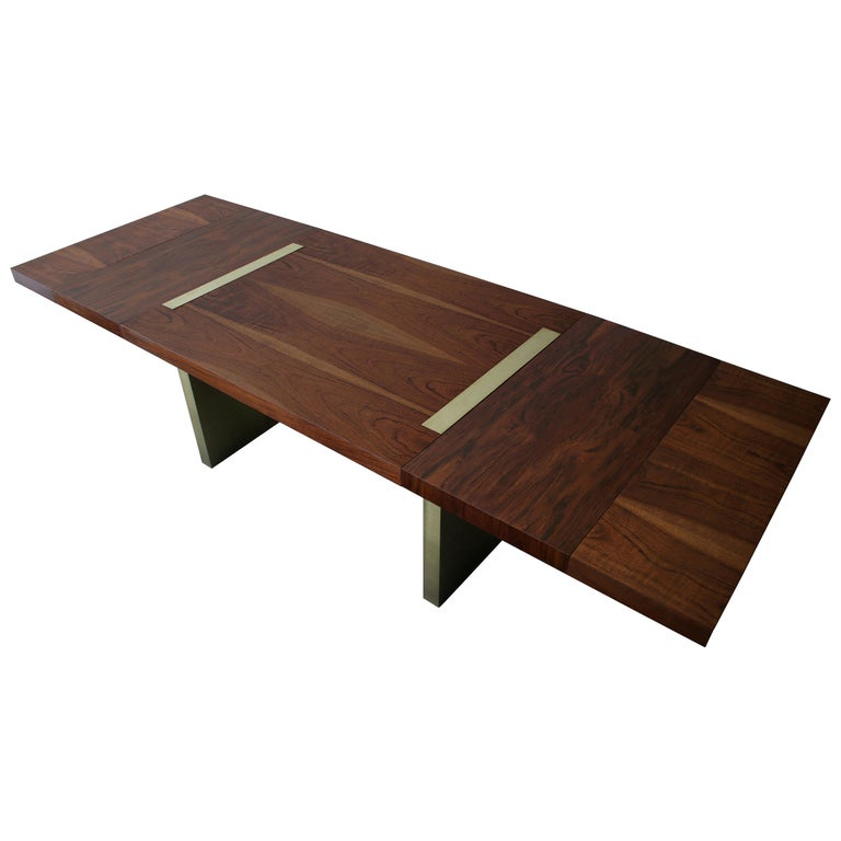 Huge Midcentury Walnut and Brushed Brass Extension Dining Table For Sale