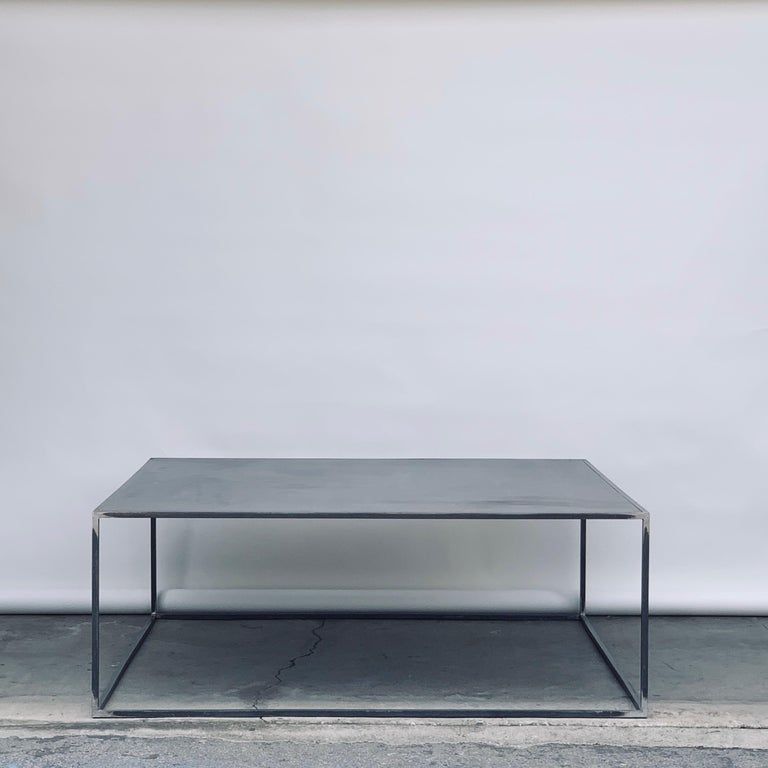 Huge Minimalist 'Filiforme' patinated steel plate square coffee table by Design Frères inspired by the Wabi-Sabi Minimalist aesthetic philosophy updated by designers like Axel Vervoordt.