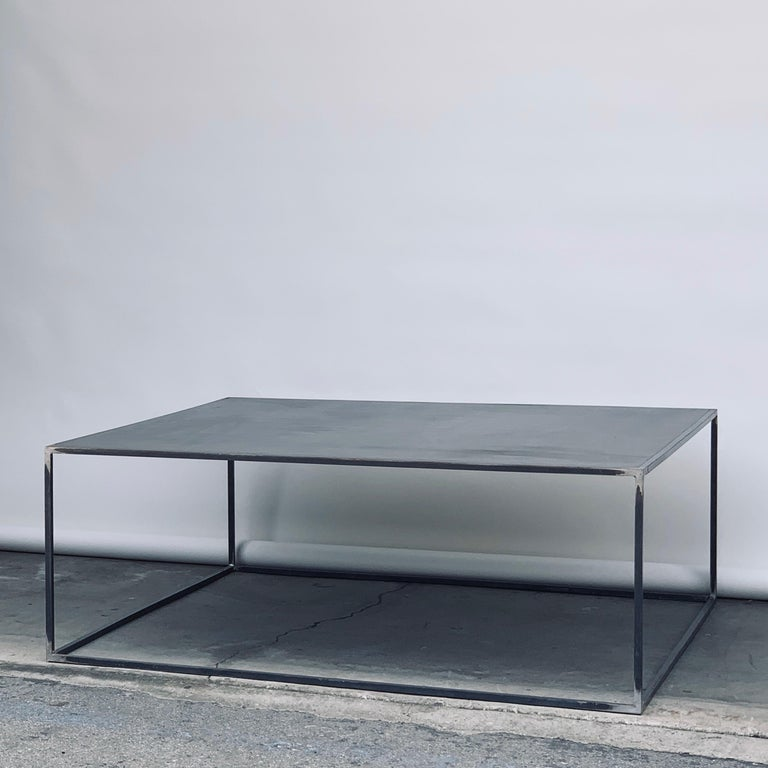 American Huge Minimalist 'Filiforme' Patinated Steel Coffee Table by Design Frères For Sale