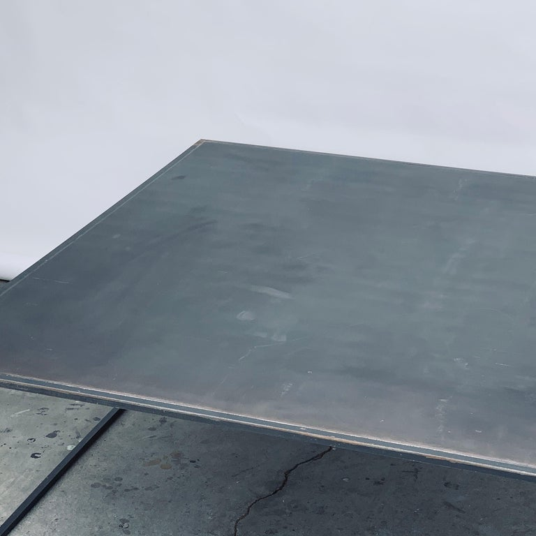 Huge Minimalist 'Filiforme' Patinated Steel Coffee Table by Design Frères In Good Condition For Sale In Los Angeles, CA