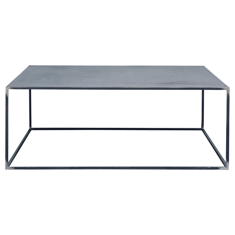 Huge Minimalist 'Filiforme' Patinated Steel Coffee Table by Design Frères For Sale