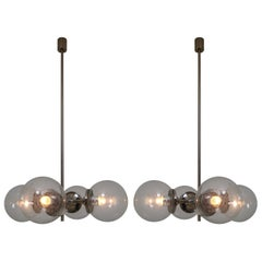 Huge Modern Geometric Chandeliers in Nickel-Plated Steel and Handblown Glass