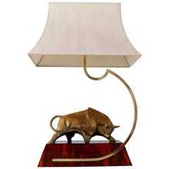 Huge Modernist Brass Light Object or Table Lamp Bull by D. Delo for Pragos Italy