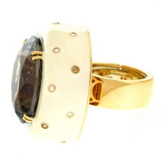 Huge Modernist Citrine Diamond and Enamel Gold Ring