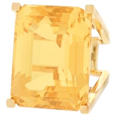 Huge Modernist Citrine Ring 18 Karat