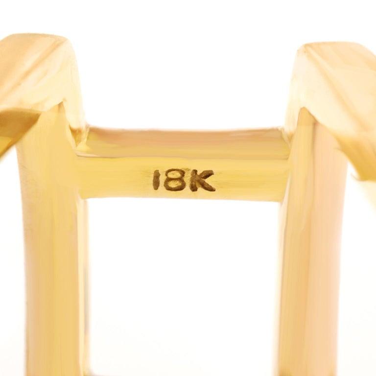 Huge Modernist Citrine Ring 18 Karat For Sale 1