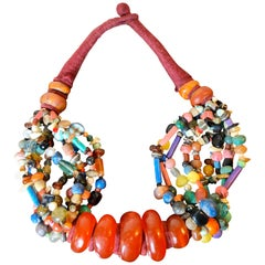 Vintage Colorful Moroccan Amber Copal Bead Necklace, 1980s Boho Chic Wall Decor