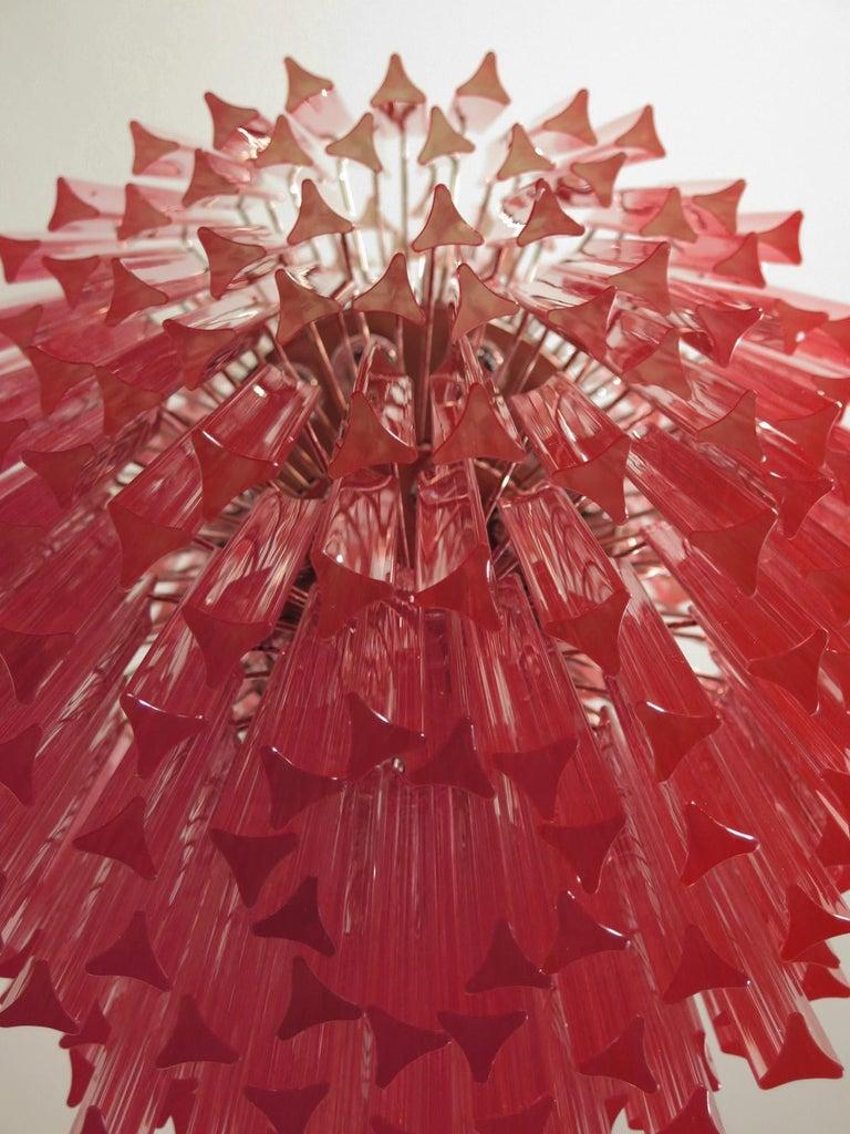 Huge Murano Chandelier Multi-color Pink Triedri, 242 Prism In Good Condition In Gaiarine Frazione Francenigo (TV), IT
