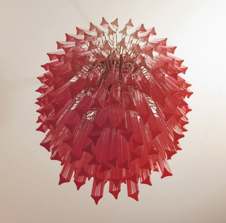 Late 20th Century Huge Murano Chandelier Multi-color Pink Triedri, 242 Prism