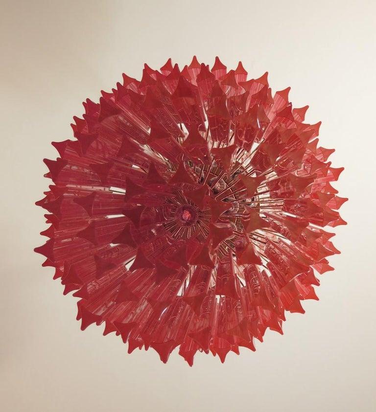 Blown Glass Huge Murano Chandelier Multi-color Pink Triedri, 242 Prism