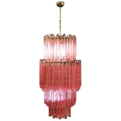 Huge Murano Chandelier Multi-color Pink Triedri, 242 Prism