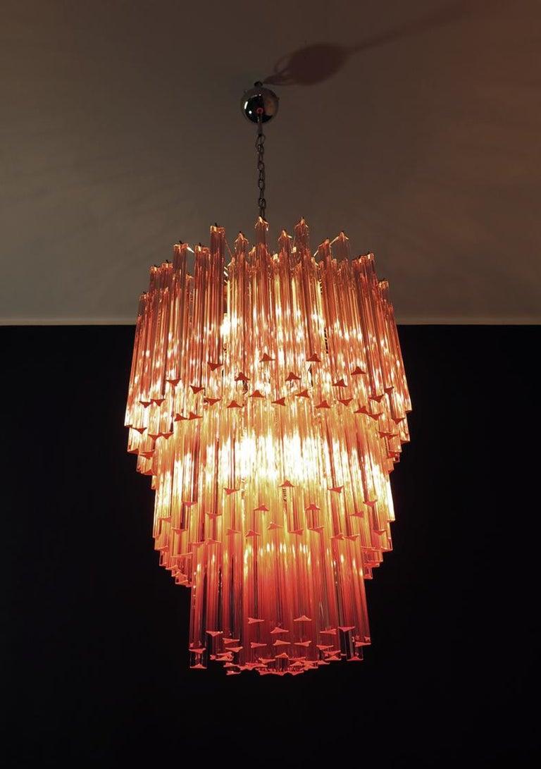 Huge Murano Chandelier Pink Triedri, 184 Prism, Mariangela Model For Sale 3