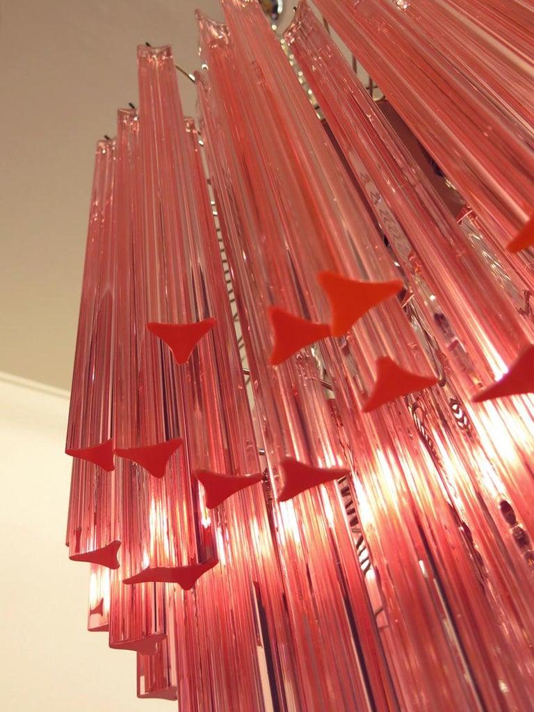 Huge Murano Chandelier Pink Triedri, 184 Prism, Mariangela Model For Sale 4