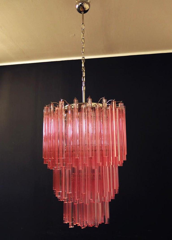 Italian Huge Murano Chandelier Pink Triedri, 184 Prism, Mariangela Model For Sale