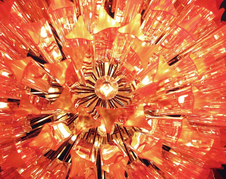 Blown Glass Huge Murano Chandelier Pink Triedri, 184 Prism, Mariangela Model