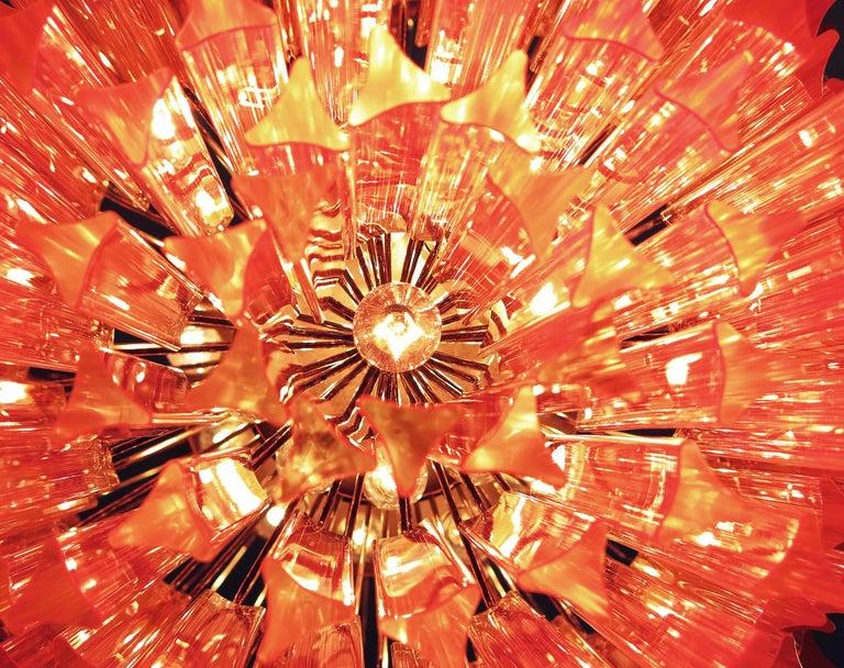 Blown Glass Huge Murano Chandelier Pink Triedri, 184 Prism, Mariangela Model For Sale