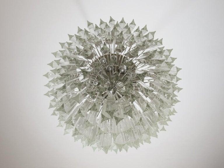 Huge Murano Chandelier Transparent Triedri, 184 Prism, Arianna Model For Sale 3