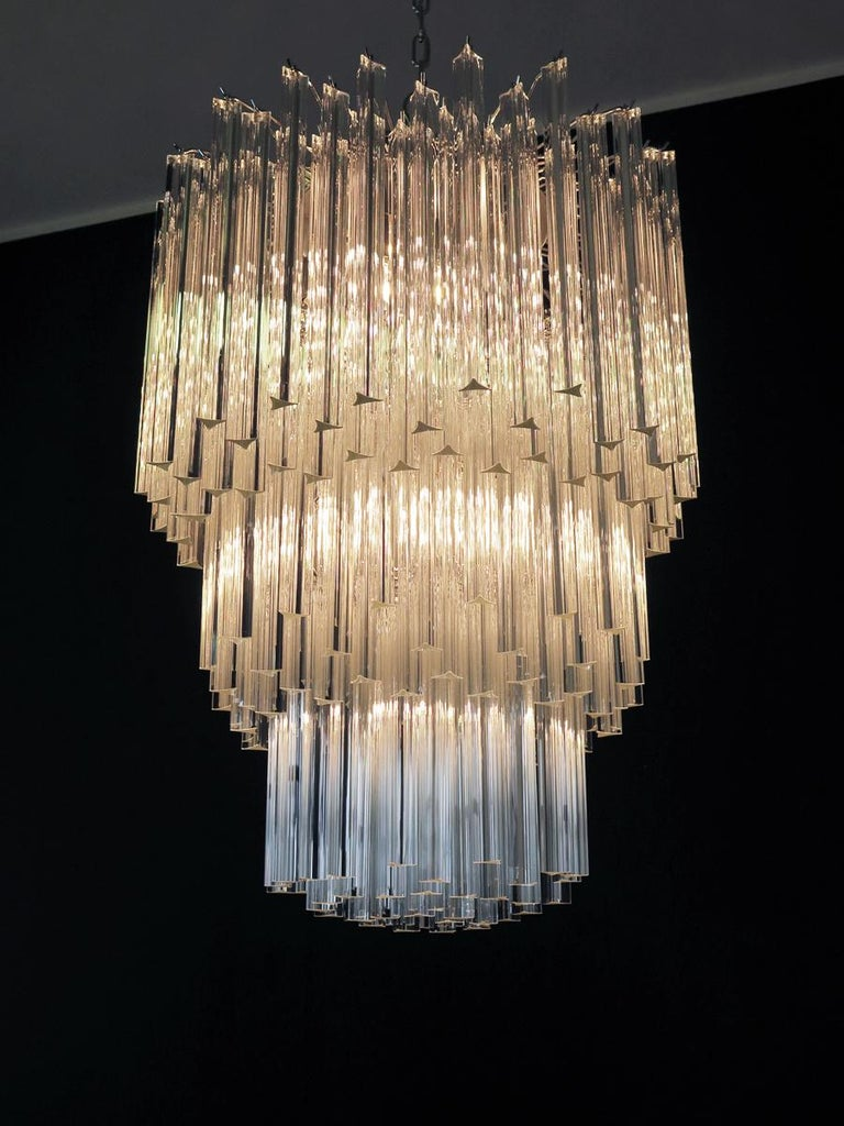 Late 20th Century Huge Murano Chandelier Transparent Triedri, 184 Prism, Arianna Model For Sale