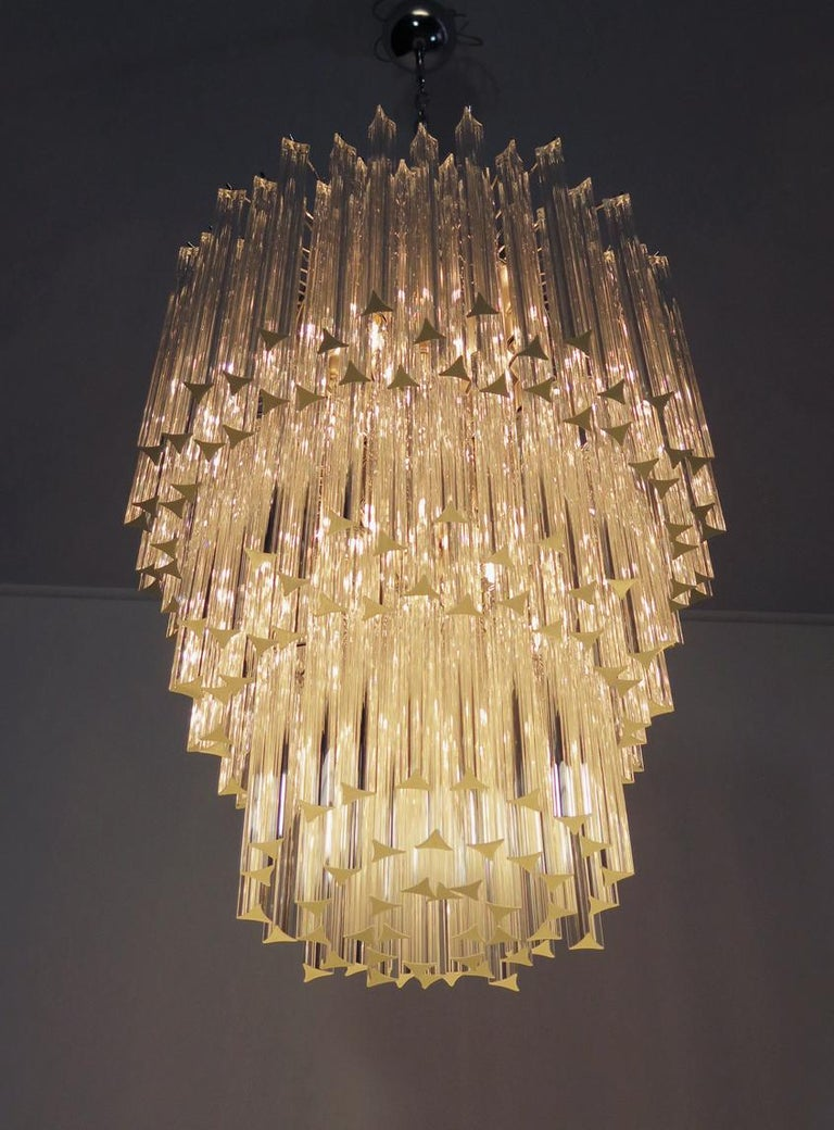 Blown Glass Huge Murano Chandelier Transparent Triedri, 184 Prism, Arianna Model For Sale