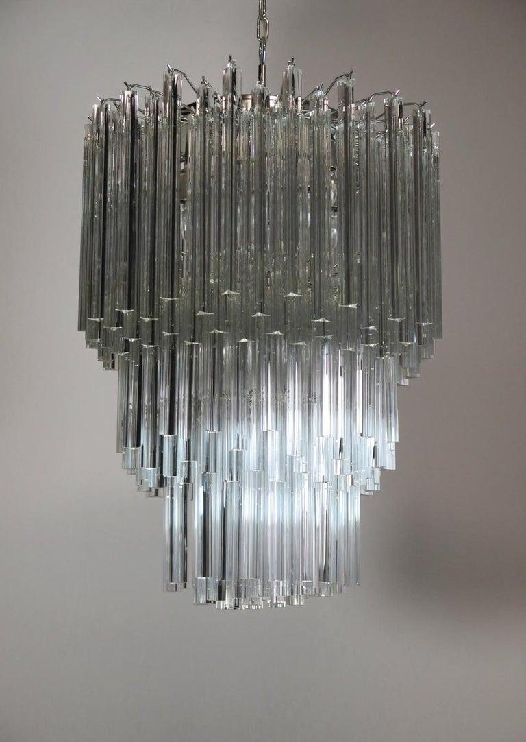 Huge Murano Chandelier Transparent Triedri, 184 Prism, Arianna Model For Sale 2