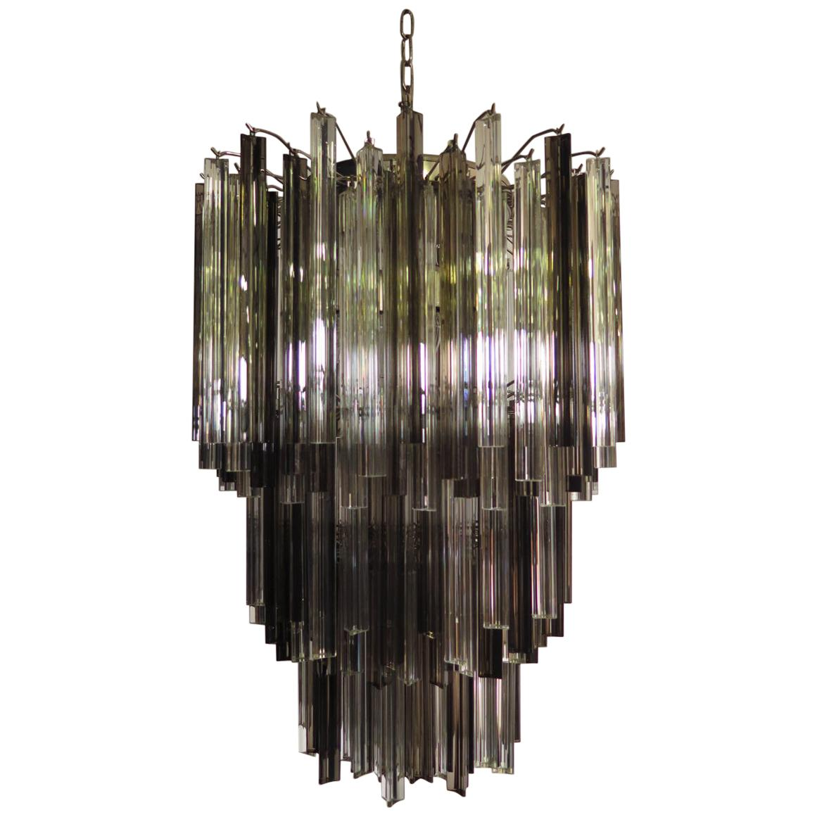 Huge Murano Chandelier Trasaparent and Smoked Triedri, 184 Prism, Mariangela M