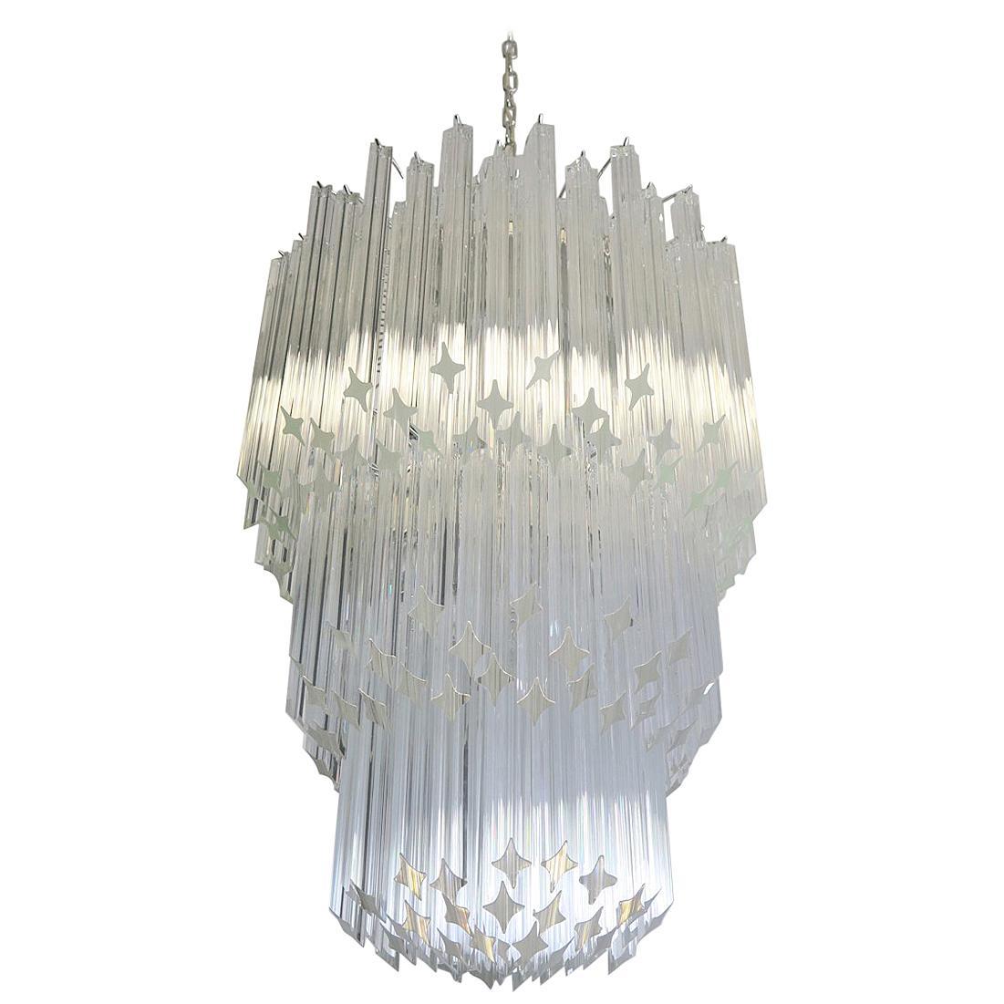 Huge Murano Chandelier Trasparent Quadriedri, 182 Prism, Elena Model