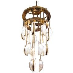 Huge Murano Glass and Brass Half Moon Chandelier