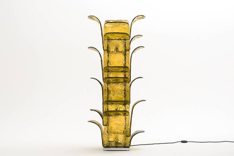 Huge and impressive floor lamp model 'LT 320' by Carlo Nason for Mazzega, Italy, 1960s. Beautiful Murano glass 'Leaves' in a nice green yellowish color mounted on a solid chromed steel framing. Adds an unusual and surprising dimension in one's