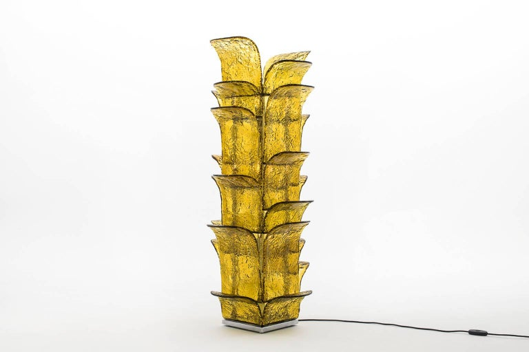 Mid-Century Modern Huge Murano Glass Leaves Floor Lamp by Carlo Nason for Mazzega For Sale