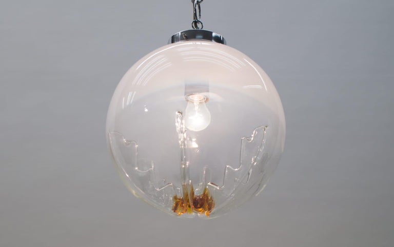 Huge Murano Mazzega Glass Globe Ceiling Lamp, 1960s, Italy For Sale 4