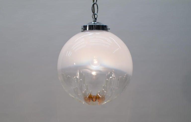 Italian Huge Murano Mazzega Glass Globe Ceiling Lamp, 1960s, Italy For Sale