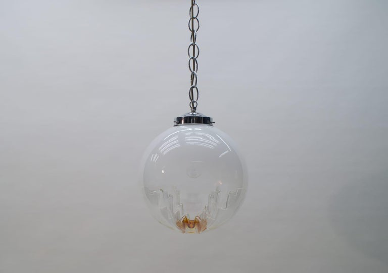 Huge Murano Mazzega Glass Globe Ceiling Lamp, 1960s, Italy In Good Condition For Sale In Nürnberg, Bayern