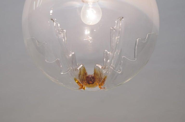 Huge Murano Mazzega Glass Globe Ceiling Lamp, 1960s, Italy For Sale 1
