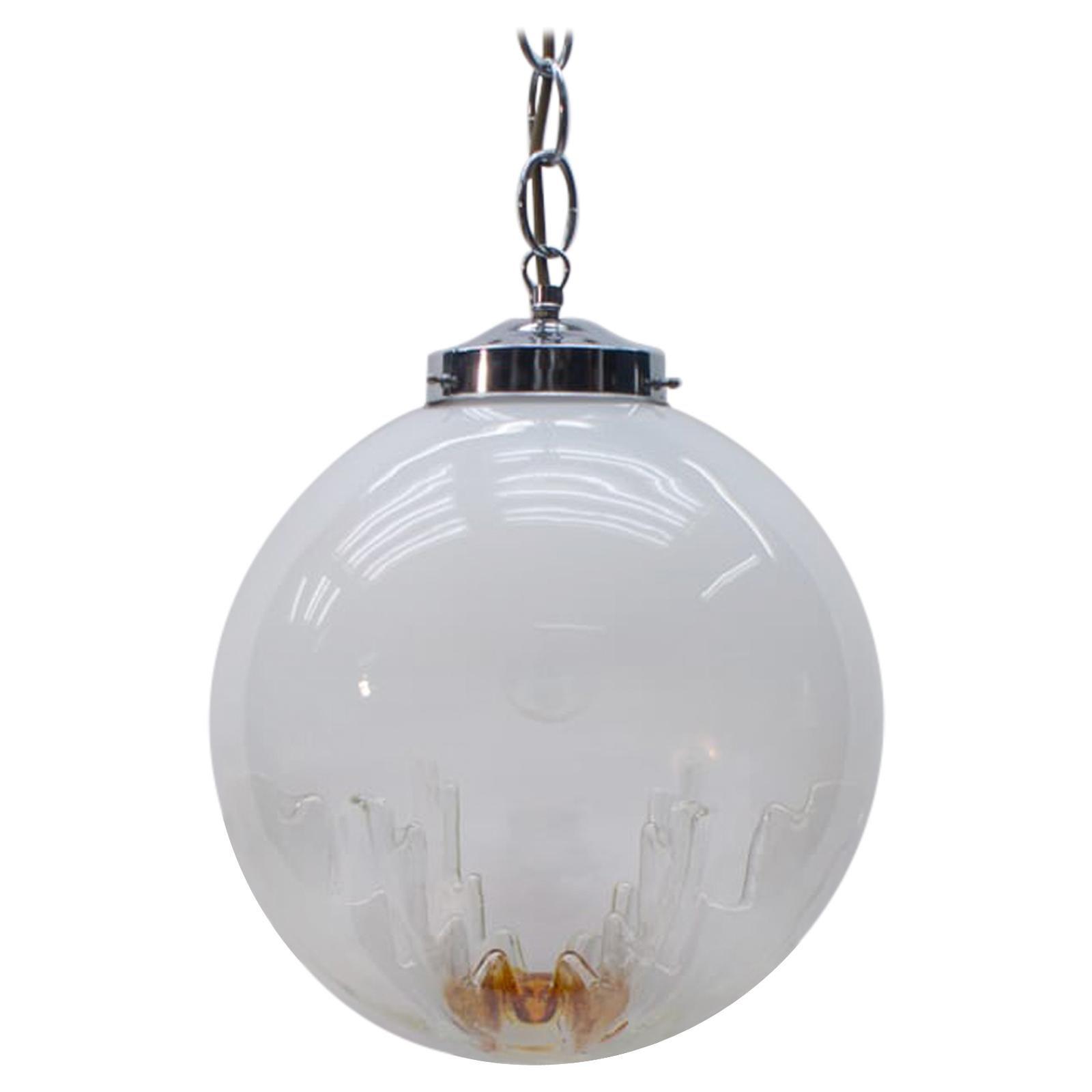 Huge Murano Mazzega Glass Globe Ceiling Lamp, 1960s, Italy