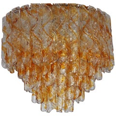 Huge Murano Spiral Amber Glass Twist Chandelier by Mazzega, circa 1960s