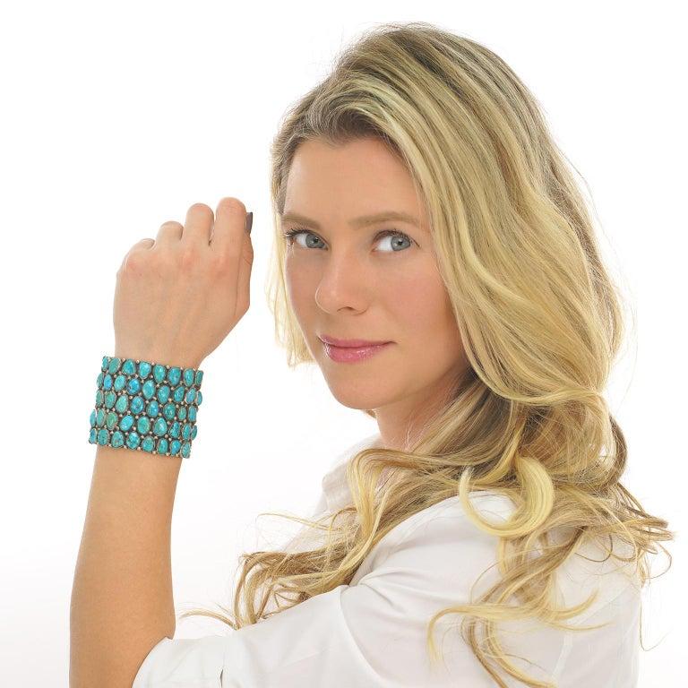 Huge Navajo Turquoise-Set Sterling Bracelet 5